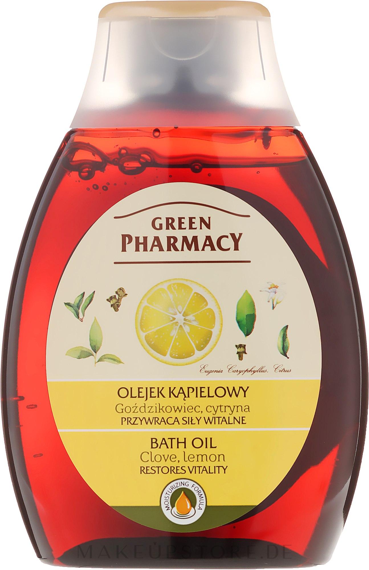 Badeöl mit Nelke und Zitrone - Green Pharmacy — Bild 250 ml