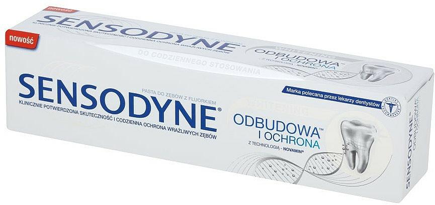 Reparierende, stärkende, schützende und aufhellende Zahnpasta für schmerzempfindlche Zähne - Sensodyne Repair & Protect Whitening — Bild N1