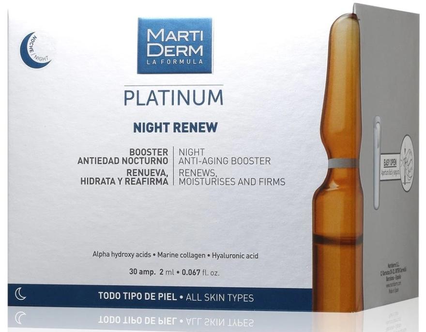 Feuchtigkeitsspendender, erneuerende und straffende Anti-Aging Gesichtsbooster für die Nacht - MartiDerm Platinum Night Renew Ampollas — Bild N1