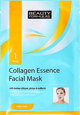 Feuchtigkeitsspendende Tuchmaske für das Gesicht mit Meeres-Kollagen, Ginkgo und Maulbeere - Beauty Formulas Collagen Essence Facial Mask — Bild N1