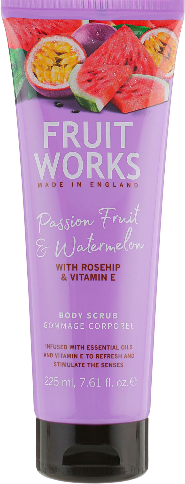Körperpeeling mit Passionsfrucht und Wassermelone - Grace Cole Fruit Works Body Scrub Passion Fruit & Watermelon — Bild 225 ml