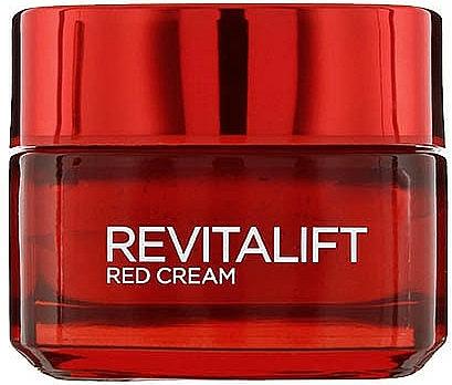 Energiespendende und straffende Anti-Falten Tagescreme mit Pro-Retinol und rotem Ginseng - L`Oreal Revitalift Red Cream 40+ — Bild N1