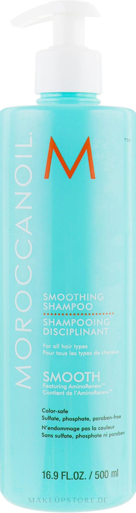 Glättendes, beruhigendes und farbschützendes Shampoo mit Arganöl - MoroccanOil Smoothing Shampoo — Bild 500 ml