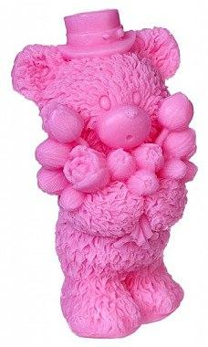 Handgemachte Naturseife Teddybär mit Blumenstrauß rosa - LaQ — Bild N1
