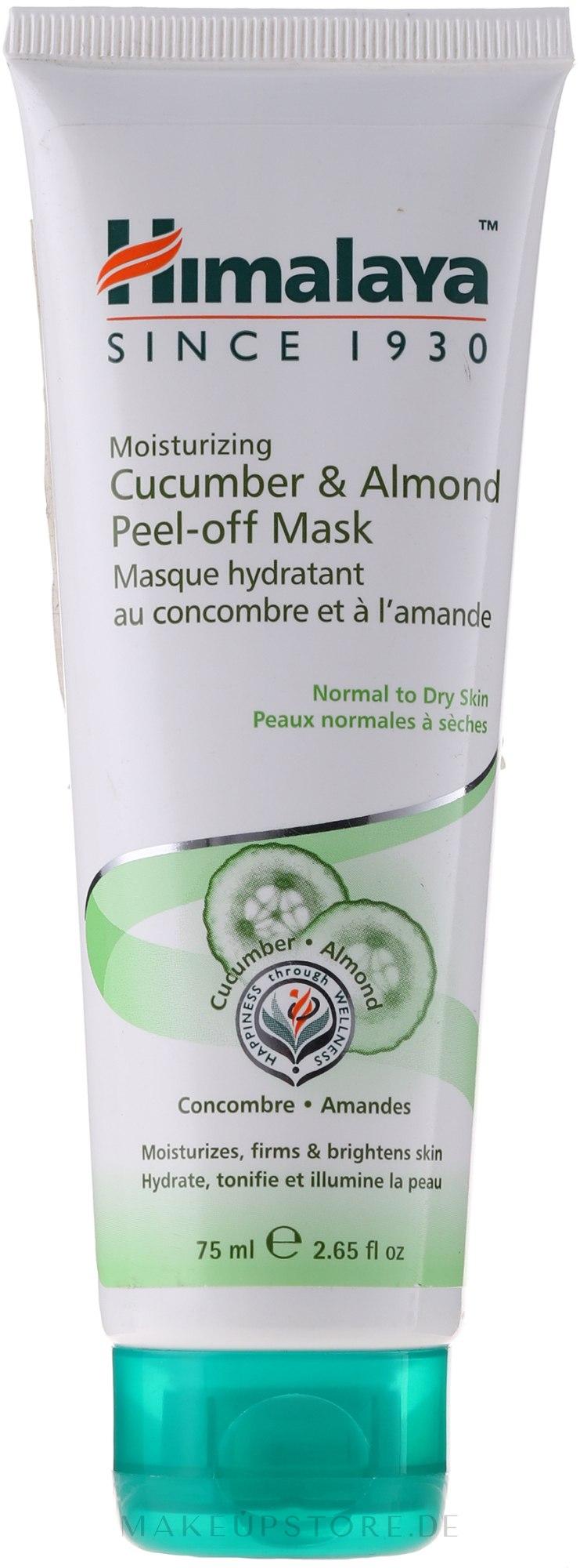 Feuchtigkeitsspendende Peel-Off Gesichtsmake mit Mandel und Gurke für normale bis trockene Haut - Himalaya Herbals — Bild 75 ml