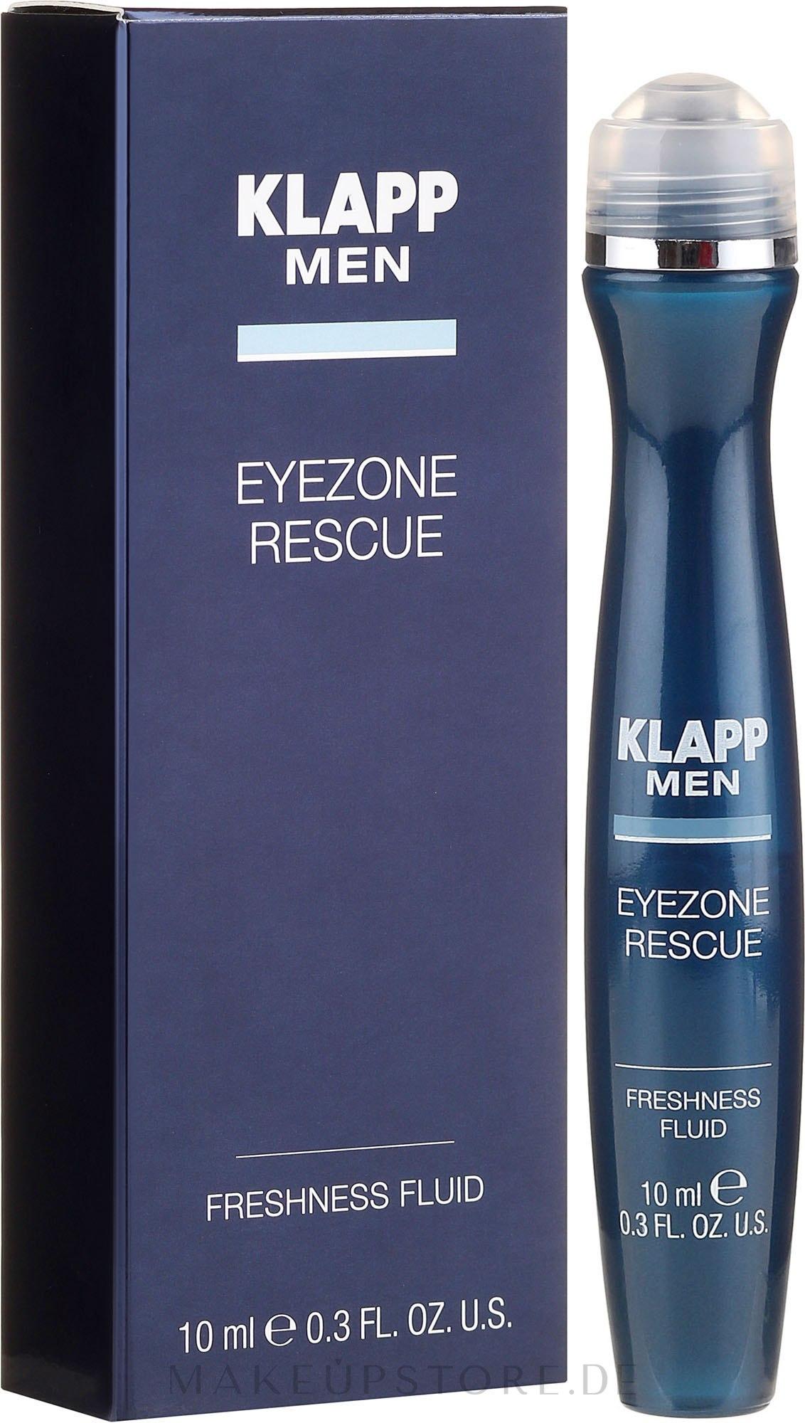 Beruhigendes Fluid gegen Augenfalten und Tränensäcke mit Hyaluronsäure und Euphrasia - Klapp Men Eyezone Rescue Freshness Fluid — Bild 10 ml