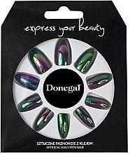 Düfte, Parfümerie und Kosmetik Künstliche Nägel Set mit Kleber schwarz metallic - Donegal Express Your Beauty