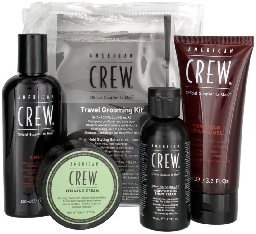 Haar- und Körperpflegeset - American Crew Travel Grooming Kit (Haargel Mittlerer Halt 100 ml + Haarcreme 50 g + Haar- und Körpershampoo 100 ml+ Rasiercreme 50 ml) — Bild N1
