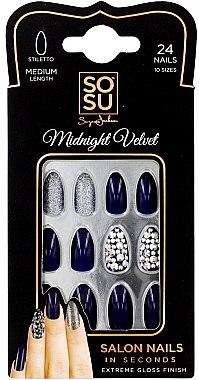 Set Künstliche Nägel 24 St. - Sosu by SJ False Nails Medium Stiletto Midnight Velvet — Bild N1