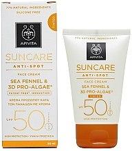 Düfte, Parfümerie und Kosmetik Sonnenschutz-Gesichtscreme gegen Pigmentflecken mit Meerfenchel SPF 50 - Apivita Suncare Anti Spot Tinted Face Cream SPF50