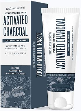 Reinigende und erfrischende Zahnpasta mit Aktivkohle und Minzgeschmack - Schmidt's Wondermint Activated Charcoal Toothpaste — Bild N1