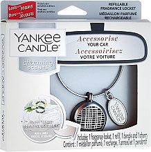Düfte, Parfümerie und Kosmetik Autoduftanhänger - Yankee Candle Fluffy Towels Linear Charming Scents Starter Kit (Medaillon + Duftstein + Charm-Anhänger + Band)