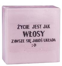 Düfte, Parfümerie und Kosmetik Handgemachte Glycerinseife mit Kirschduft - LaQ Short Message Soap: Das Leben ist wie Haar...es klappt immer irgendwie ;-D Natural Soap