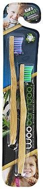 Bambuszahnbürste für Kinder lila, grün 2 St. - WooBamboo Kid's Toothbrush — Bild N1