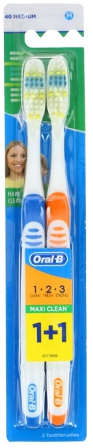 Zahnbürste mittel 1 2 3 Maxi Clean blau, orange 2 St. - Oral-B 1 2 3 Maxi Clean 40 Medium 1+1 — Bild N1