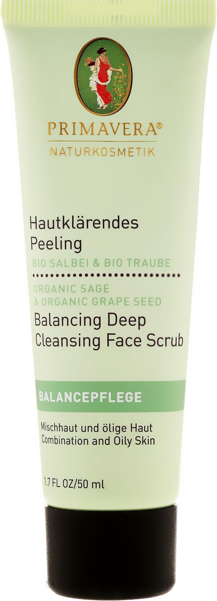 Hautklärendes Gesichtspeeling mit Bio-Salbei und Bio-Traube - Primavera Balancing Deep Cleansing Face Scrub — Bild 50 ml
