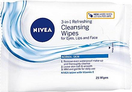 3in1 Erfrischende Reinigungstücher für Gesicht, Augen und Lippen für normale Haut - Nivea 3 in 1 Cleansing Wipes — Bild N1
