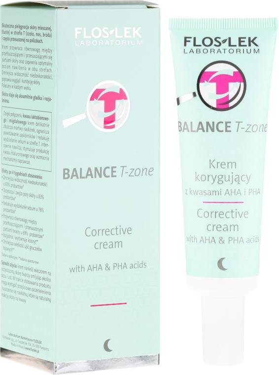 Korrigierende Nachtcreme für die T-Zone mit AHA- und PHA-Säuren - Floslek Balance T-Zone Corrective Cream — Bild N1