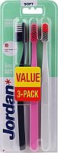 Düfte, Parfümerie und Kosmetik Zahnbürste weich Clean Smile schwarz-grau, rosa, grau-orange 3 St. - Jordan Clean Smile Soft