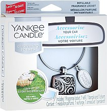 Autoduftanhänger - Yankee Candle Clean Cotton Square Charming Scents Starter Kit (Medaillon + Duftstein + Charm-Anhänger + Band) — Bild N1