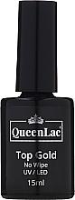 Düfte, Parfümerie und Kosmetik Gel Nagelüberlack ohne Dispersionsschicht mit goldenem Glitzer - QueenLac Top Gold No Wipe UV/LED