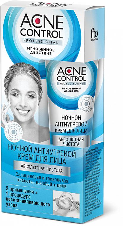 Nachtcreme für das Gesicht gegen Akne mit Salbei, Zink, Salicyl- und Glykolsäure - Fito Kosmetik Acne Control Professional — Bild N1