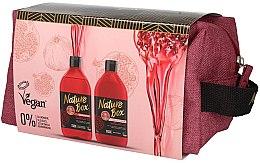Düfte, Parfümerie und Kosmetik Haarpflegeset - Nature Box Pomegranate Oil (Shampoo 385ml + Conditioner 385ml + Kosmetiktasche)