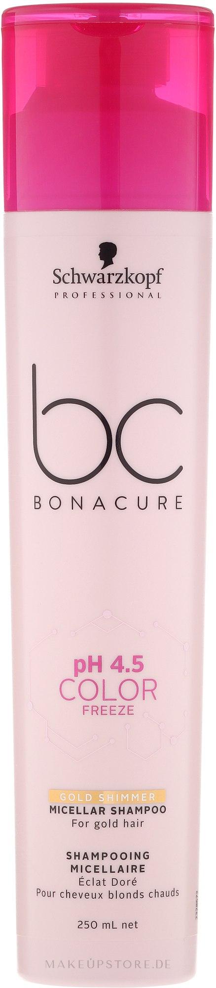Sanftes, pigmentiertes Shampoo für warme Blondtöne - Schwarzkopf Professional Bonacure Color Freeze Gold Shimmer Micellar Shampoo — Bild 250 ml