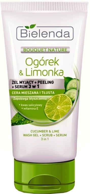 3in1 Reinigungsgel, Peeling, Gesichtsserum - Bielenda Cucumber and lime 3 in 1 Wash Gel, Peeling, Serum — Bild N1