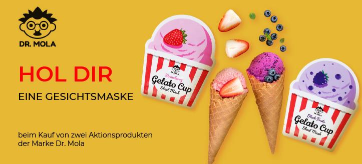 Beim Kauf von zwei Produkten der Marke Dr. Mola eine der präsentierten Masken wird nach dem Zufallsprinzip als Geschenk hinzugefügt
