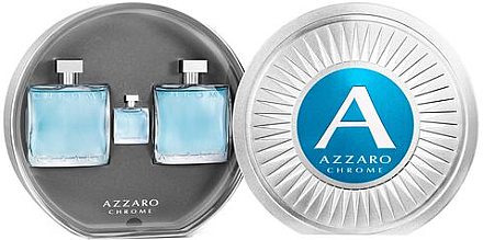 Azzaro Chrome - Duftset (Eau de Toilette 100ml + After Shave Lotion 100ml + Mini 7ml) — Bild N1
