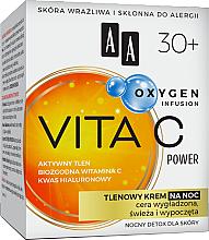 Düfte, Parfümerie und Kosmetik Sauerstoff-Gesichtscreme für die Nacht mit Vitamin C und Hyaloronsäure 30+ - AA Oxygen Infusion Vita C Power Night Cream