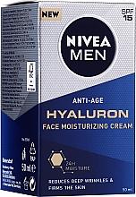 Feuchtigkeitsspendende Anti-Aging Gesichtscreme mit Hyaluronsäure für alle Hauttypen SPF 15 - Nivea Men Anti-Age Hyaluron Face Moisturizing Cream SPF 15 — Bild N2