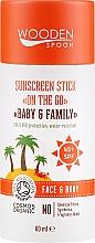 Düfte, Parfümerie und Kosmetik Sonnenschutz-Stick für Gesicht und Körper SPF 45 - Wooden Spoon Sunscreen Stick On The Go SPF 45