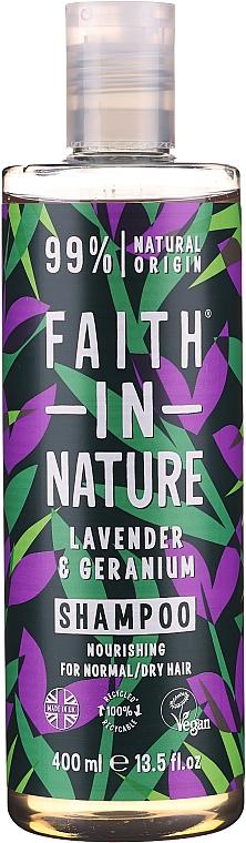 Nährendes Shampoo mit Lavendel und Geranie für normales und trockenes Haar - Faith In Nature Lavender & Geranium Shampoo — Bild N1