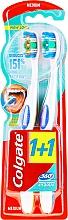 Düfte, Parfümerie und Kosmetik Zahnbürste mittel 360° Whole Mouth Clean blau, orange 2 St. - Colgate 360 Whole Mouth Clean Medium