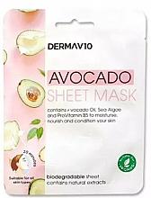 Düfte, Parfümerie und Kosmetik Feuchtigkeitsspendende und nährende Tuchmaske für das Gesicht mit Avocadoöl - Derma V10 Avocado Sheet Mask
