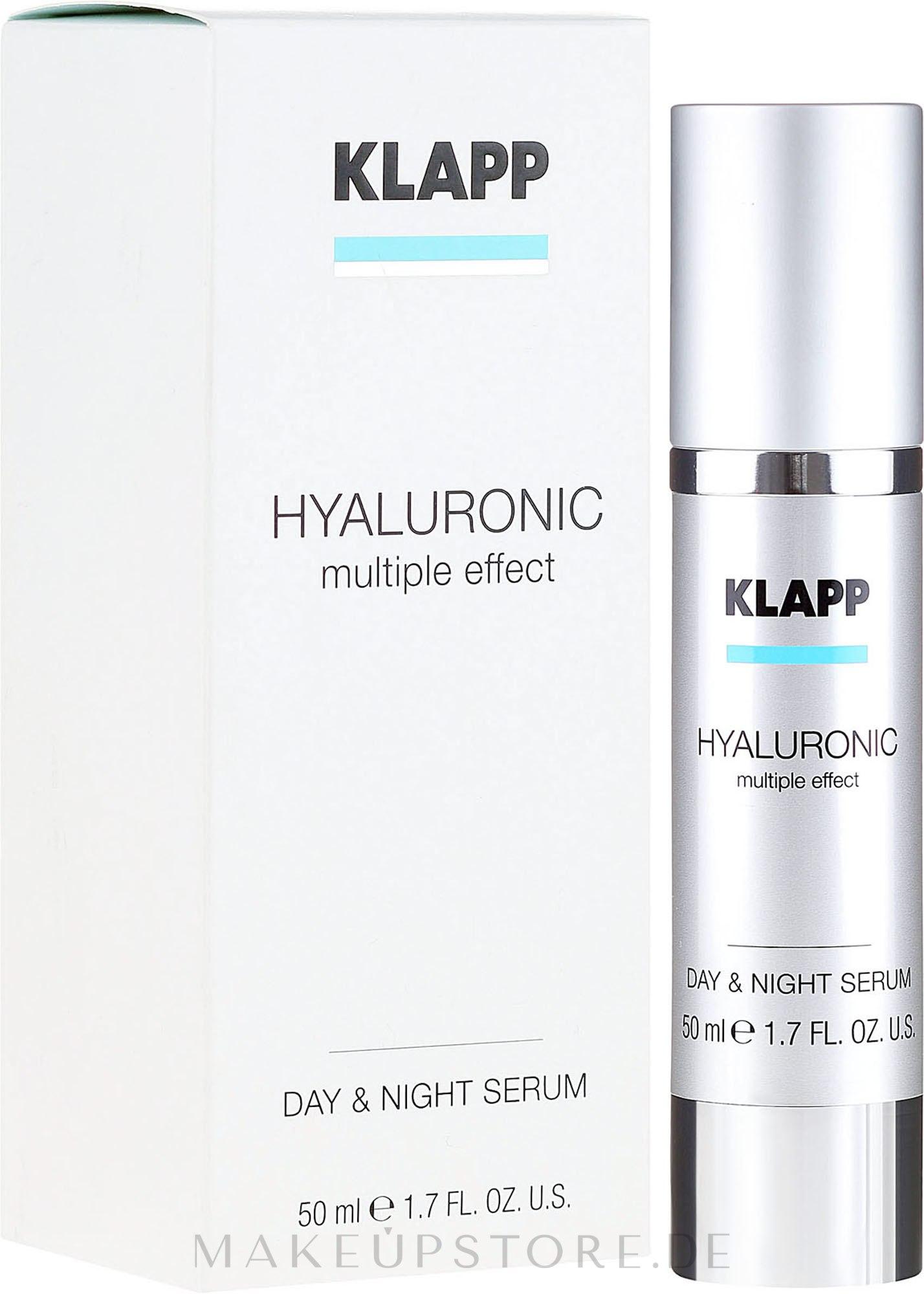 Aufpolsterndes Pflegeserum mit Hyaluronsäure und Quicklift - Klapp Hyaluronic Multiple Effect Day & Night Serum — Bild 50 ml