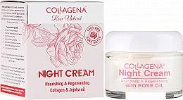 Düfte, Parfümerie und Kosmetik Pflegende und regenerierende Nachtcreme mit Kollagen und Jojobaöl - Collagena Rose Natural Night Cream