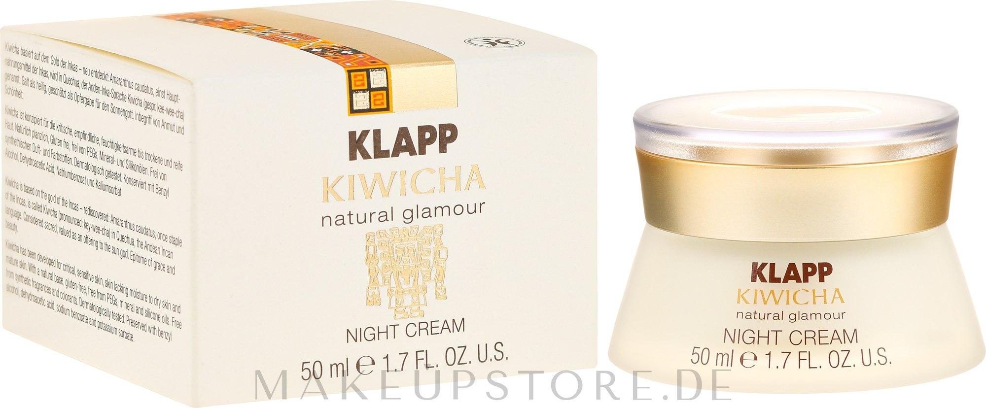 Reichhaltige Nachtcreme mit Aloe Vera und Jojobaöl - Klapp Kiwicha Night Cream — Bild 50 ml