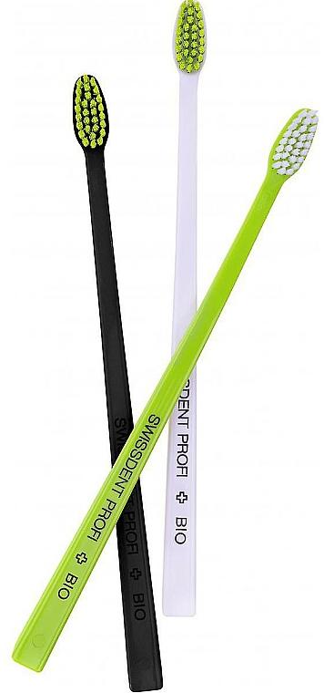 Bio Zahnbürste schwarz, weiß, grün 3 St. - Swissdent Bio Tandborste Triple Pack — Bild N1