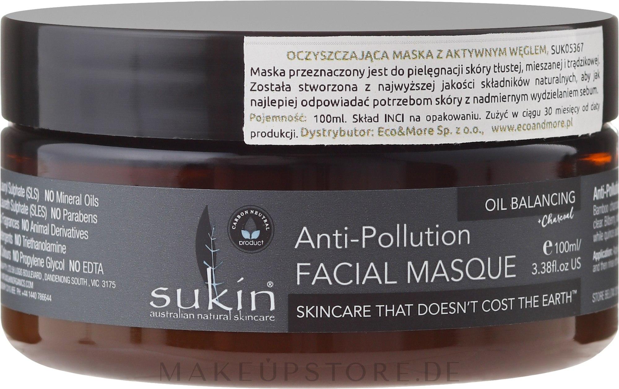 Gesichtsmaske gegen unreine Haut mit Aktivkohle - Sukin Oil Balancing + Charcoal Anti-Pollution Facial Masque — Bild 50 ml