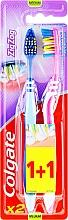 Düfte, Parfümerie und Kosmetik Zahnbürste mittel Zig Zag rosa, blau 2 St. - Colgate Zig Zag Plus Medium