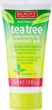 Entzündungshemmendes Gesichtsgel mit Zaubernuss und Pfefferminz - Beauty Formulas Tea Tree Skin Clarifying Blemish Gel — Bild N1