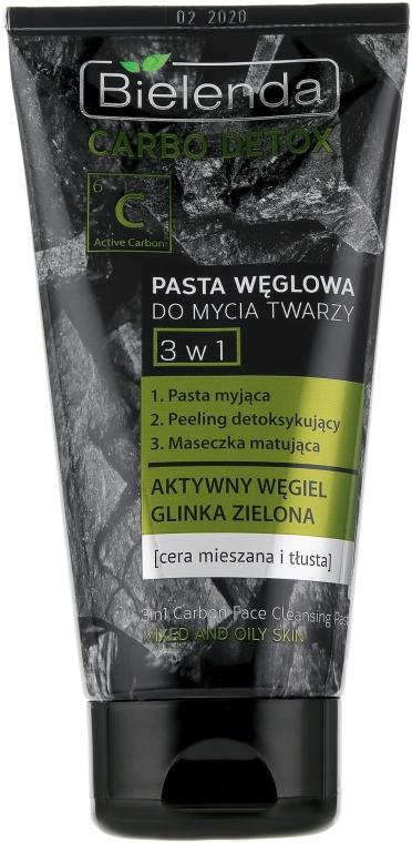 3in1 Gesichtsreinigungsgel mit Aktivkohle und grüner Tonerde für fettige und Mischhaut - Bielenda Carbo Detox Paste — Bild N1