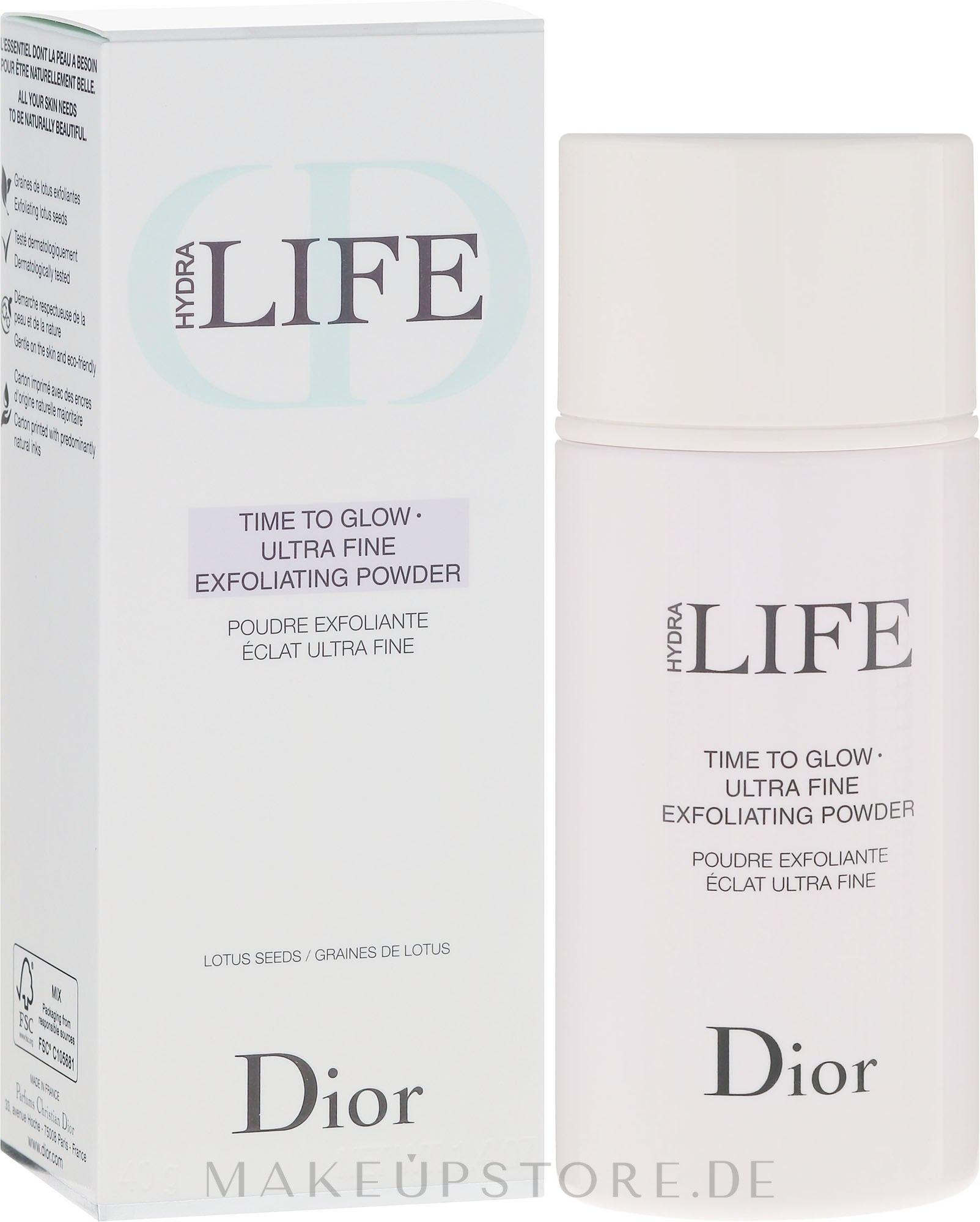 Glänzendes Peeling-Puder mit Zucker und Lotussamen - Dior Hydra Life Time To Glow Ultra Fine Exfoliating Powder — Bild 40 g
