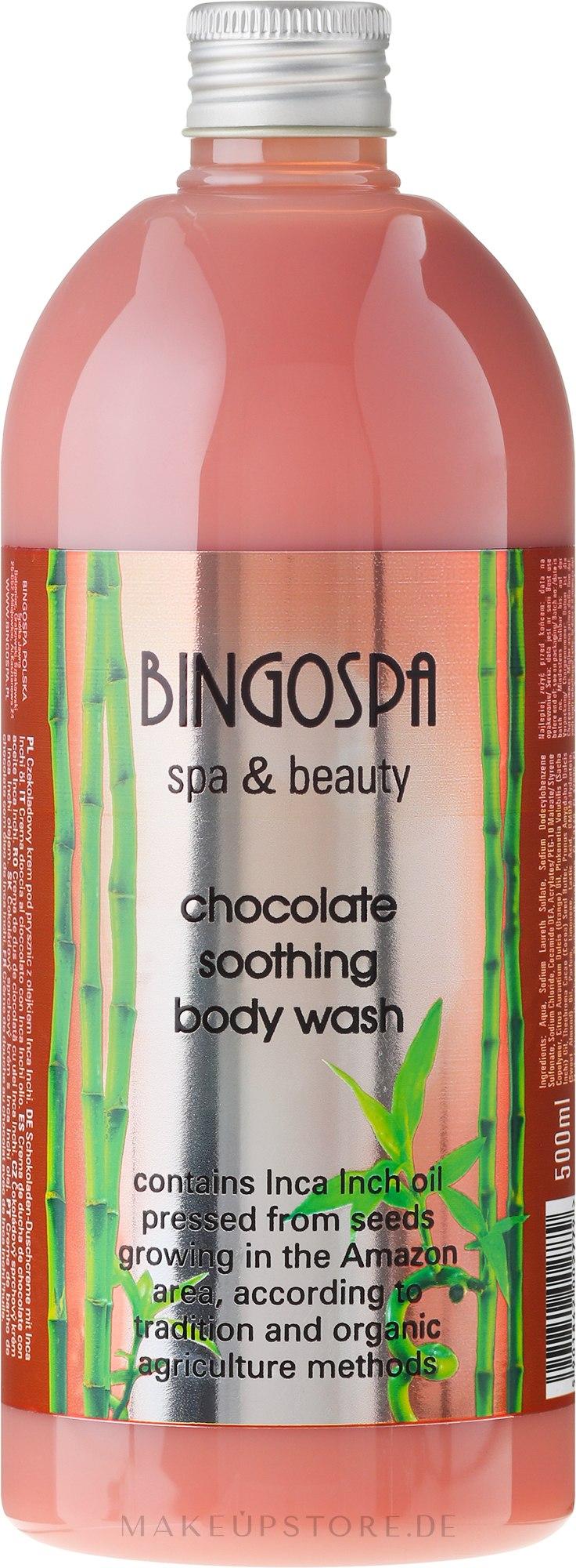 Schoko Duschcreme mit Bio Inca Inchi Öl - BingoSpa Chocolate Soothing Body Wash — Bild 500 ml
