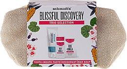Düfte, Parfümerie und Kosmetik Körperpflegeset Rose & Vanille - Schmidt's Blissful Discovery (Zahnpasta 100ml + Deostick 58ml + Seife 142g + Kosmetiktasche)
