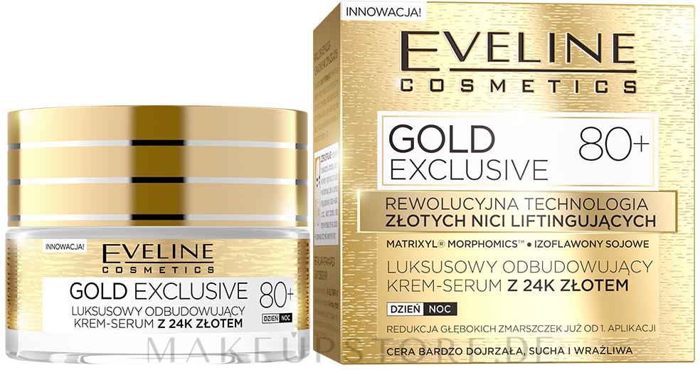 Luxuriöses Tages- und Nacht-Cremeserum mit 24 Karat Gold - Eveline Cosmetics Gold Exclusive 80+ — Bild 50 ml