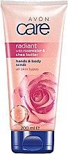 Düfte, Parfümerie und Kosmetik Leuchtendes Hand- und Körperpeeling mit Sheabutter und Rosenwasser - Avon Care Hands & Body Scrub